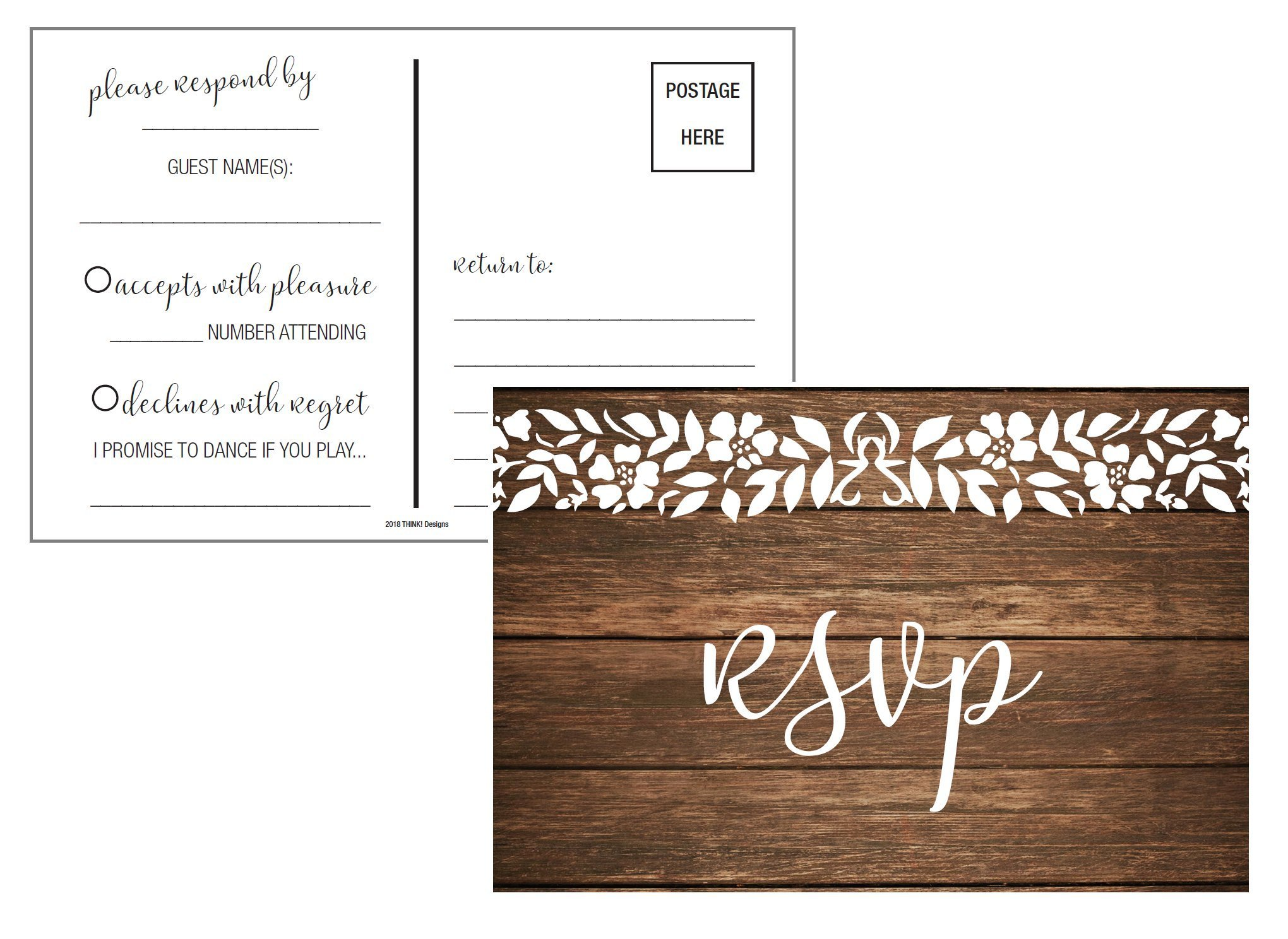 RSVP Cards | Wood Rustic White Lace | RSVP Postcards No Envelopes Needed | Response Reply Card Kit | 50 4x6 cards by Think! Trading Co
