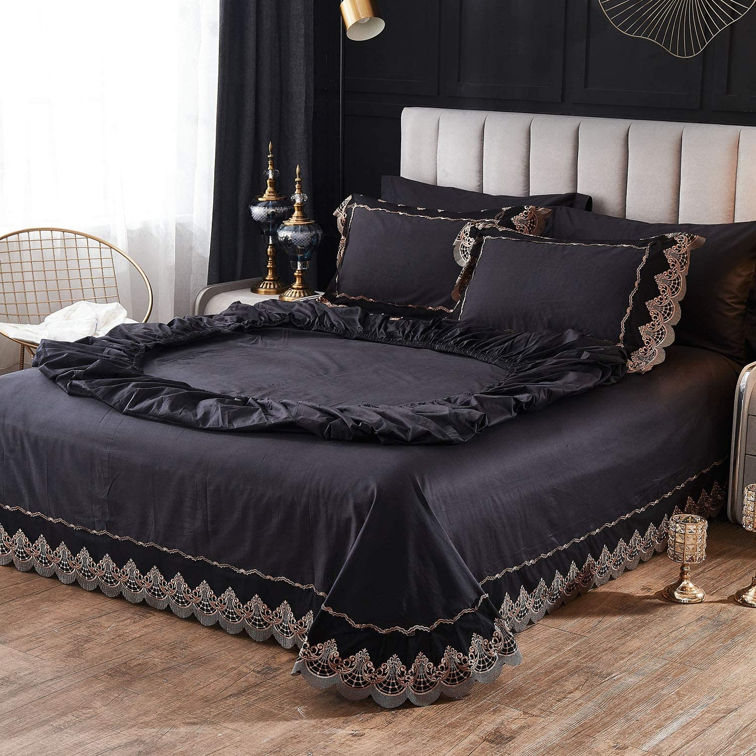 FADFAY Queen Sheets Set - Black Hotel Luxury 4-Piece Bed Set, Premiun 100% Cotton Hypoallergenic Gold Lace Designed Deep Pocket Fitted Sheets 18 inch, Sheet & Pillow Case Set (Queen, Black)