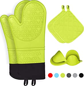 Kiya Silicone Oven Mitts & 2 Pot Holders & 2 Cooking Pinch Mitts(6-Piece Sets) - Heat Resistant to 460 F - Extra Long Oven Gloves with Soft Inner Lining (Yellow)