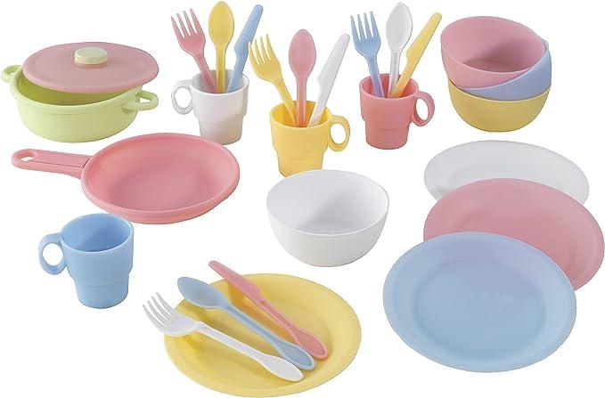 KidKraft - Set de 27 utensilios de cocina de juguete, Multicolore (Pastel) (63027) , color/modelo surtido