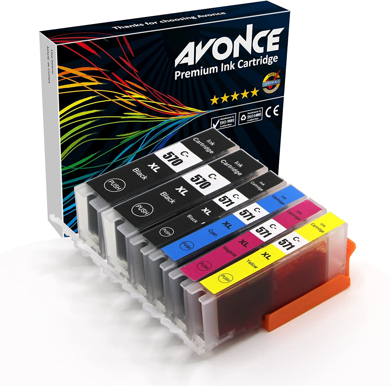 Avonce - Juego de 6 cartuchos de tinta compatibles para Canon PGI ...