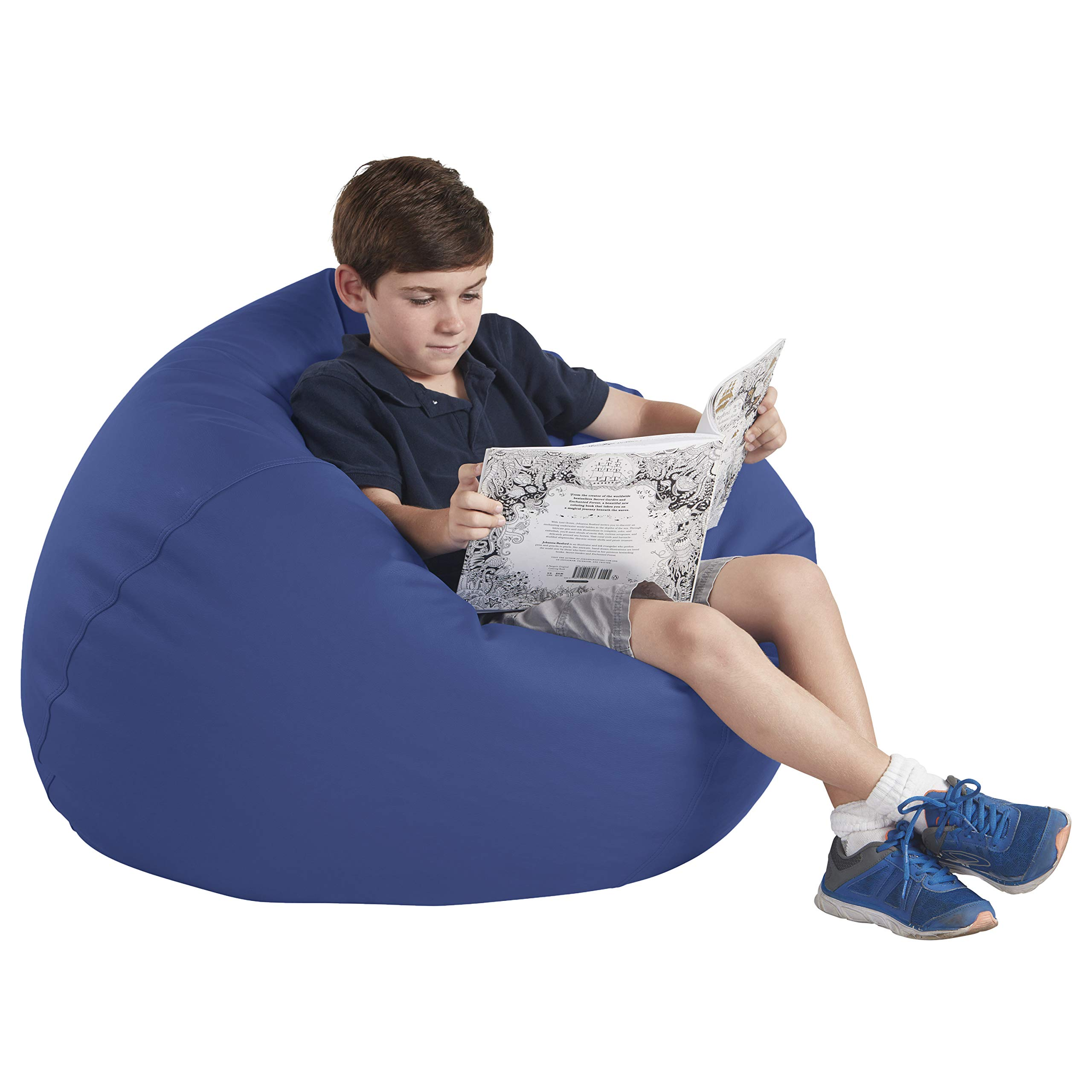 FDP SoftScape Classic 35'' Junior Bean Bag Chair, Furniture for Kids, Perfect for Reading, Playing Video Games or Relaxing, Alternative Seating for Classrooms, Daycares, Libraries or Home - Navy by Factory Direct Partners