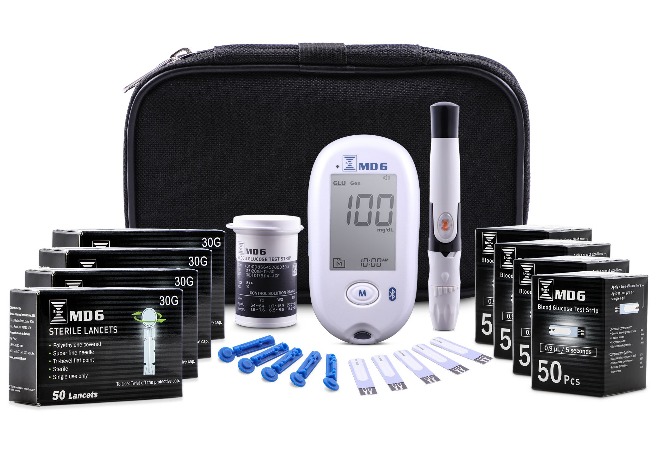 Bruno Pharma MD6 Diabetes Blood Glucose Monitor Kit | Complete Diabetic Meter Testing Kit with Travel Case, Lancing Device, 200 Blood Sugar Test Strips + 200 Lancets | Fast Results + 5 Year Warranty