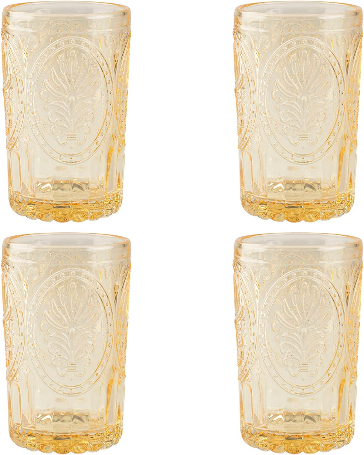 Katie Alice Festival Folk Glass Tumbler Yellow