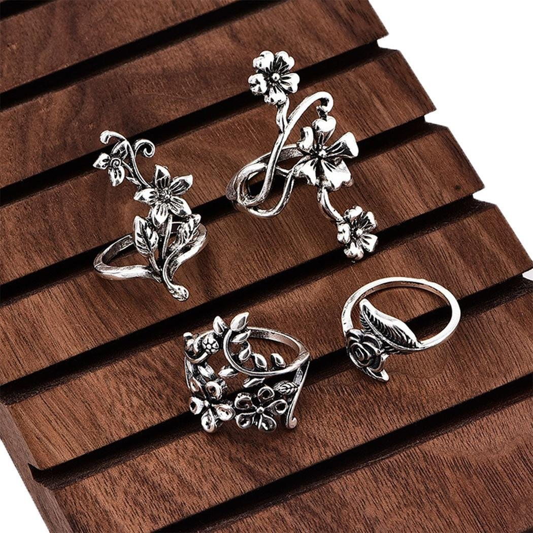 Hotstype 4 Pcs Vintage Style Carved Rose Flower Leaf Ring Set Rings