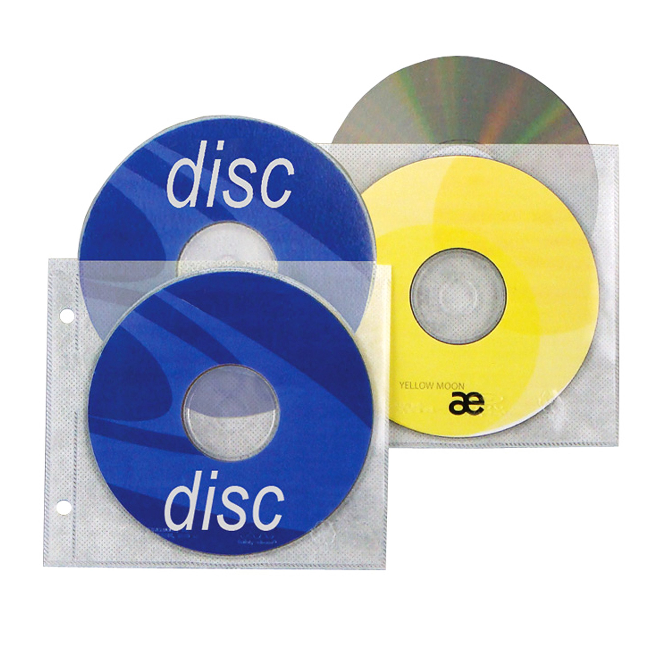 2 Hole Top Load CD/DVD Page, 5.625'' x 5'', 3.13'' hole spacing - Box of 800