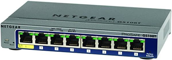 NETGEAR レイヤー2スマートスイッチ ギガビット8ポート/VLAN QoS ACL LAG PoE受電/外部電源/マグネット付属/無償永久保証 GS108T-200JPS