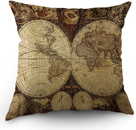 Cotton pillow with a world map motif