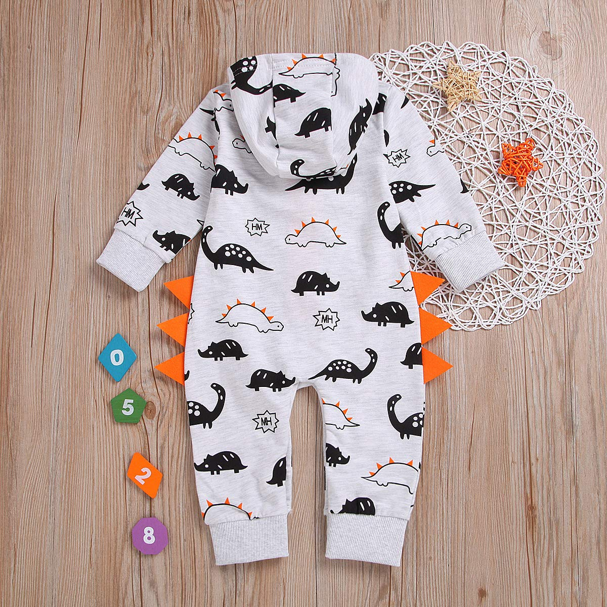 MNLYBABY Toddler Baby Boys Cartoon Dinosaur Long Sleeve Jumpsuit Romper Infant Zipper Front Onesies Climb Clothes
