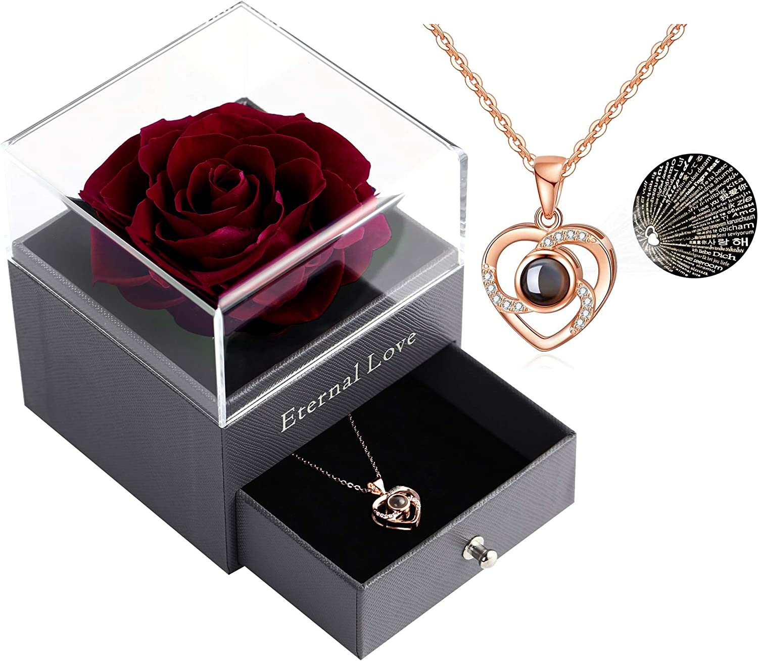 Eternal Handmade Rose with Love You Necklace Rose Gift Box Mothers Day Anniversary Handmade Fresh Rose Gift for Her on Birthday Valentines Day Blue Real Preserved Rose