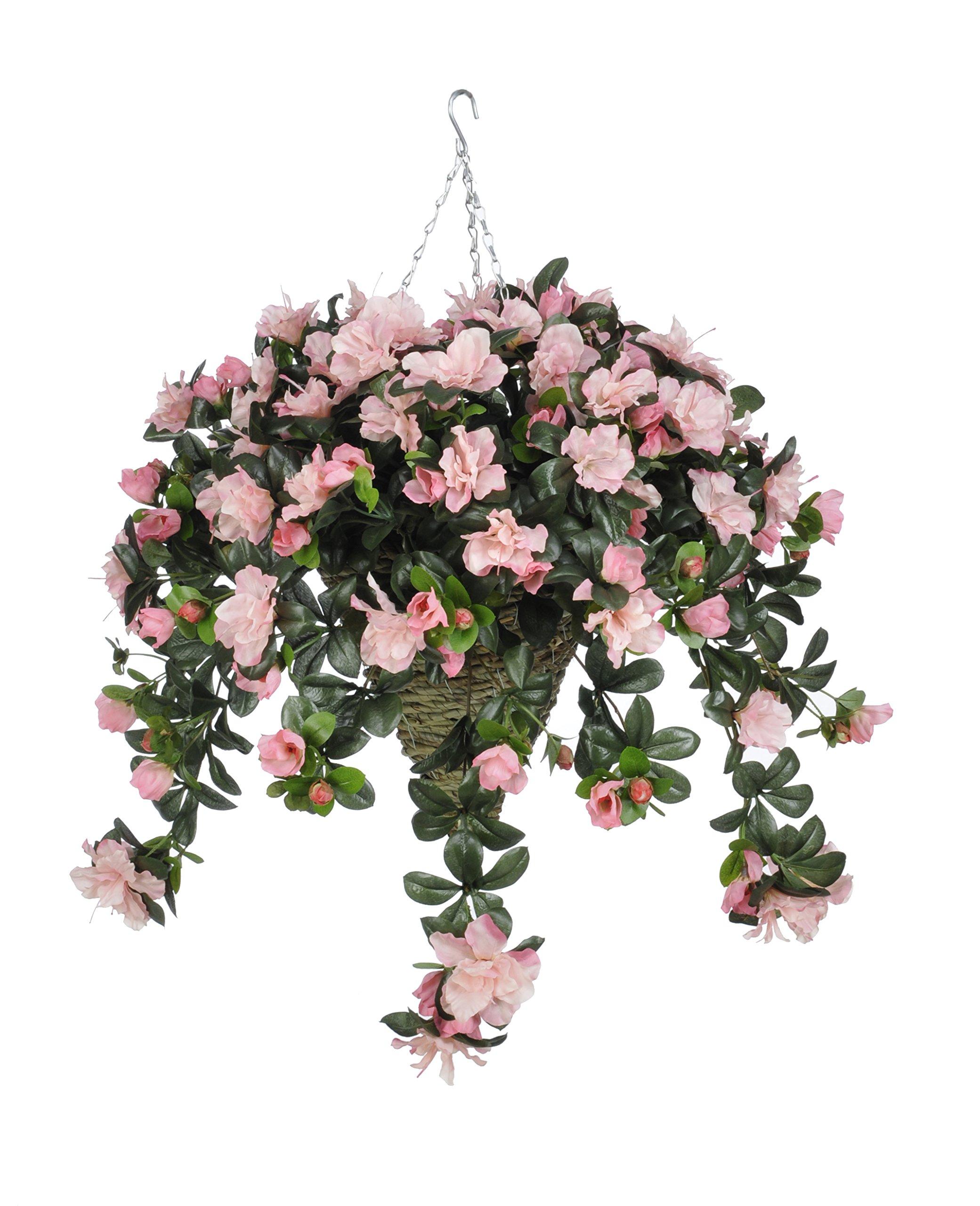 House-of-Silk-Flowers-Artificial-Pink-Azalea-in-Beehive-Hanging-Basket