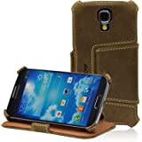 """Manna Samsung Galaxy S4 i9500 Hülle Case Leder Tasche   EasyStand   Verloursleder """"Western""""   braun"""