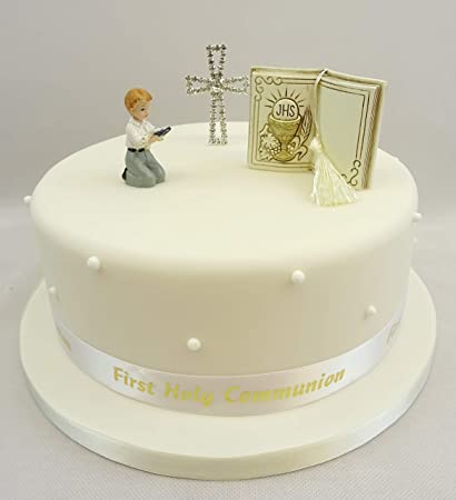 The Cake Emporium Ltd , Decorazione per torta per Prima Comunione, per  bambino, decorazione con Bibbia/croce/nastro con scritta in oro Amazon.it  Casa e
