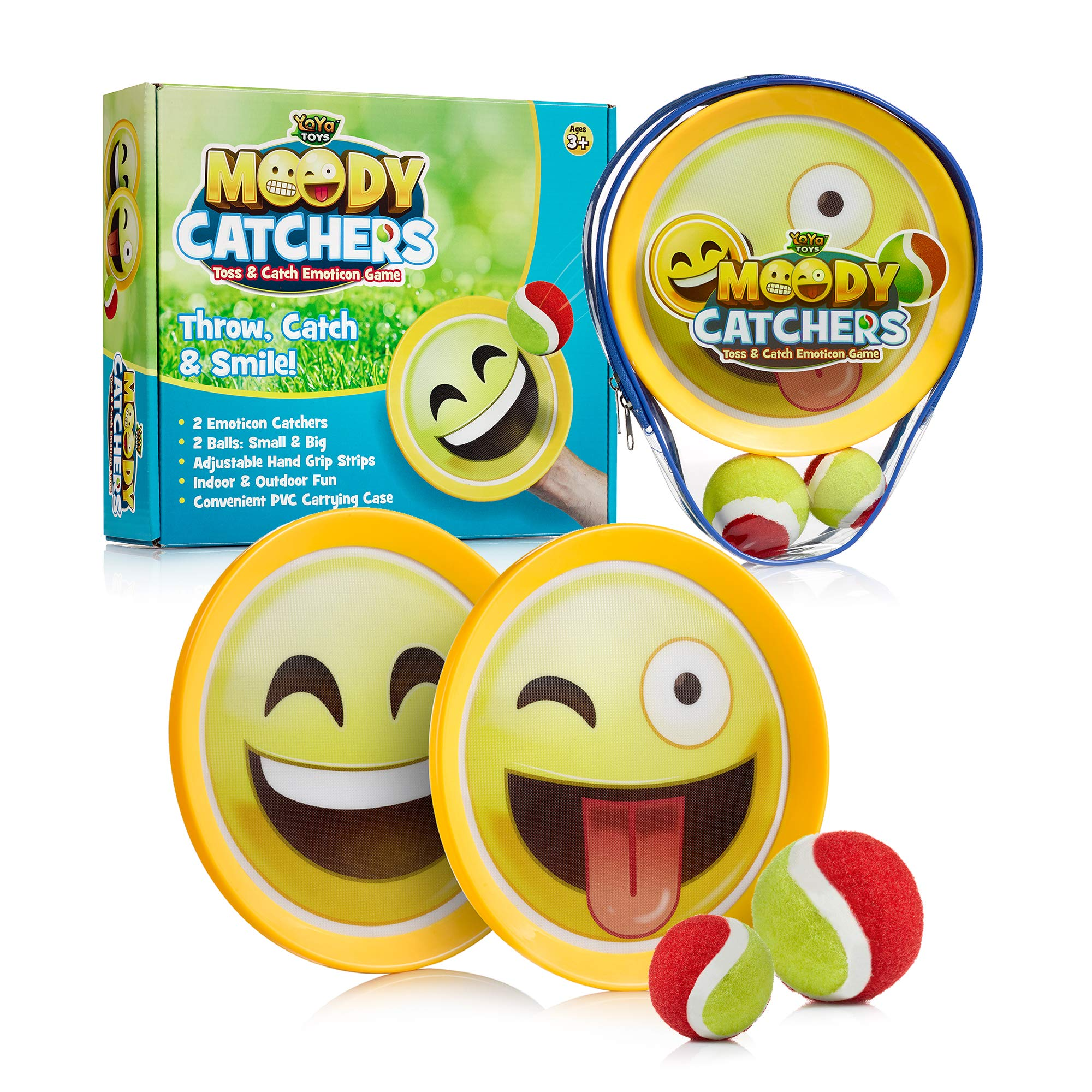 Emoji Toss & Catch Ball Game | 2 Disc Paddles, 2 Balls (One Big & One Small) & PVC Carry Bag Idea with Stunning Packaging | Safe, Durable & Family Friendly Game Set