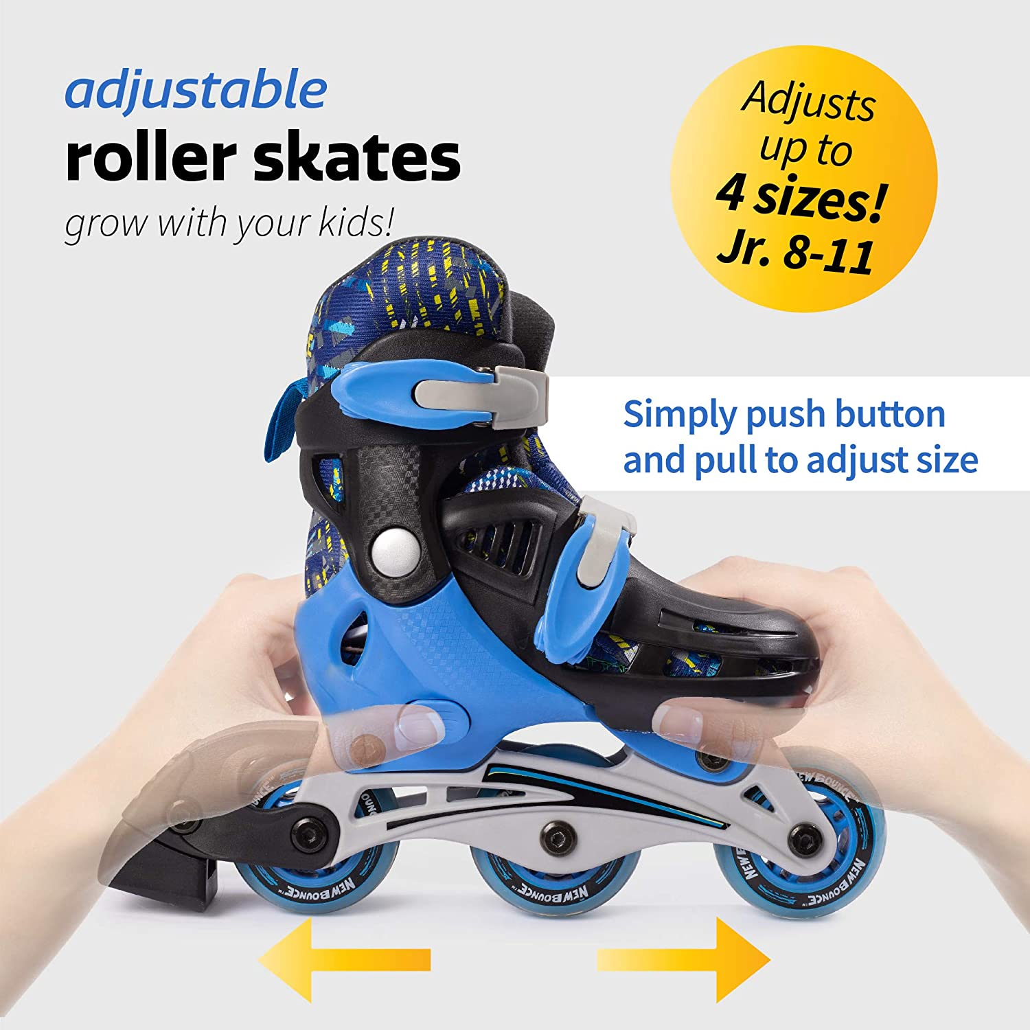 CYGJLYZ Skate Children Roller Skates Double Row 4 Wheel Sliding Shoes Adjustable Size Skating Beginners Kids Security 3 Gear Suitable For 2-8 Year Old Baby Birthday Present Color : A, Size : 30