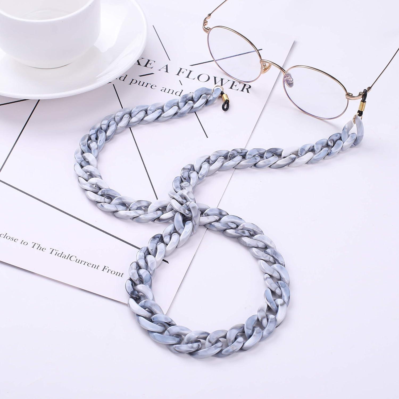 VASSAGO Fashion Acrilico Twist Link Occhiali da lettura Collana Catena Resina Occhiali da sole Supporto per occhiali Fermo per occhiali da donna Grigio chiaro