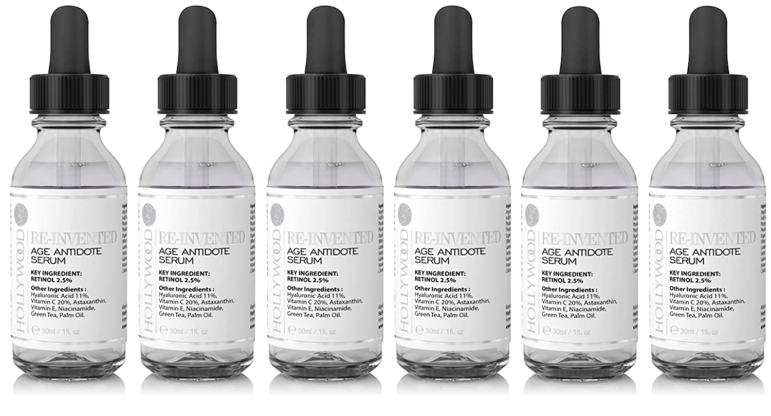 2.5% Retinol serum–4x STRONGER than regular anti-aging and acne treatments. With 11% Hyaluronic Acid and 20% Vitamin C, highest strength. 30ml (4 Bottles) hollywoodskin