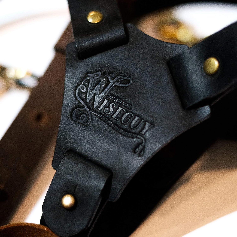 Wiseguy Crazy Horse 1.3 inch Wide Dark Brown Authentic American nubuck leather Suspenders