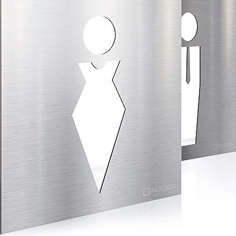Letreros para WC - señales autoadhesivas de acero inoxidable ...
