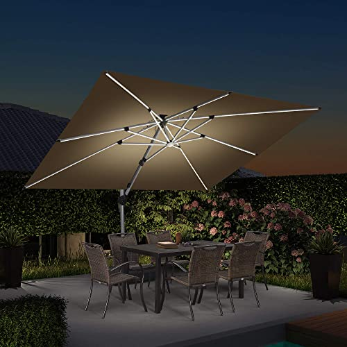 PURPLE LEAF 9' X 12' Double Top Deluxe Solar Powered LED Rectangle Patio Umbrella Offset Hanging Umbrella Outdoor Market Umbrella Garden Umbrella