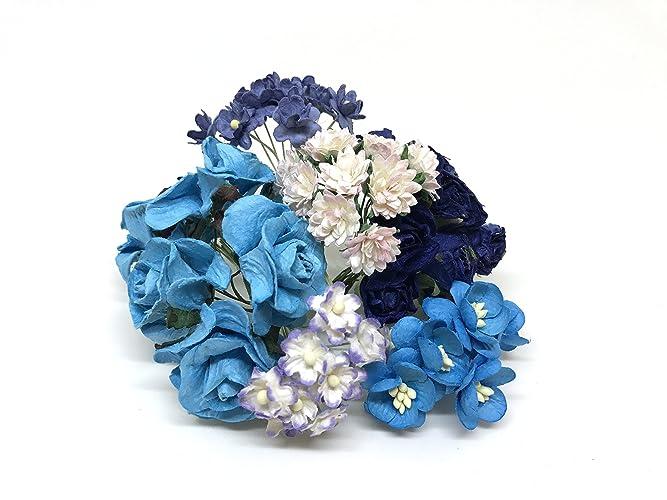 Amazon.com: DIY Flower Crown Kit, Mulberry Paper Flowers, Blue Paper ...