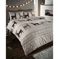 Helsinki Winter Stag Fair Isle 100% Brushed Cotton Flannelette Thermal Bedding Set Taupe - UK King / CA Queen