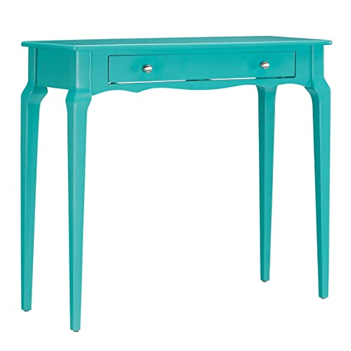 ModHaus Living Modern Cottage Wood Narrow End Sofa Table Console Rectangle Accent with Storage Drawer – Includes Pen Teal