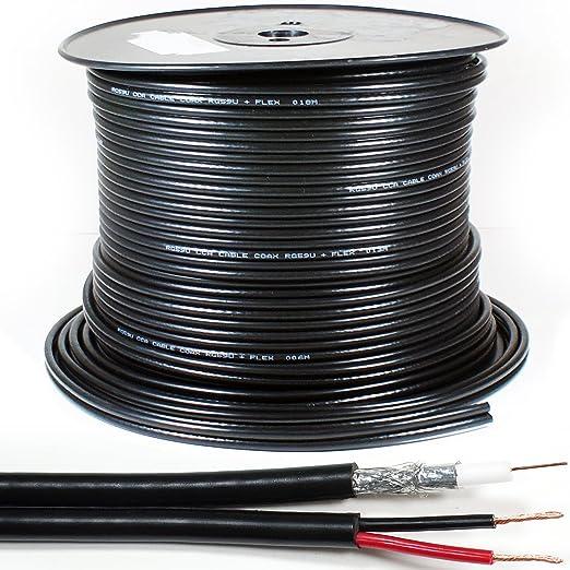 250 M RG59 Coaxial y Potencia de Escopeta Cable de CCTV Doble ...