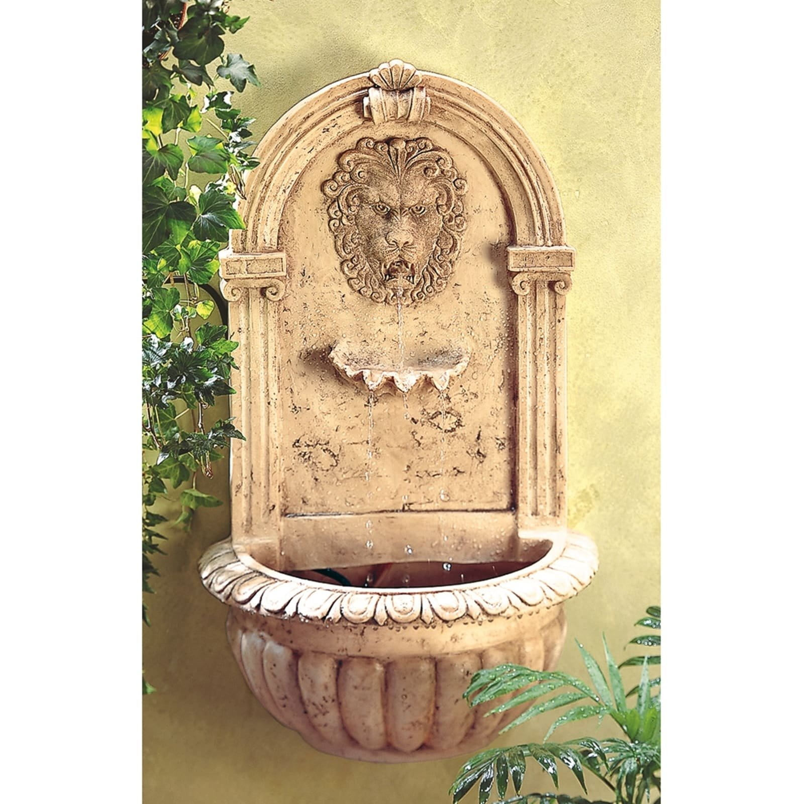 BSD National Supplies Sandstone Lion Face Wall Fountain