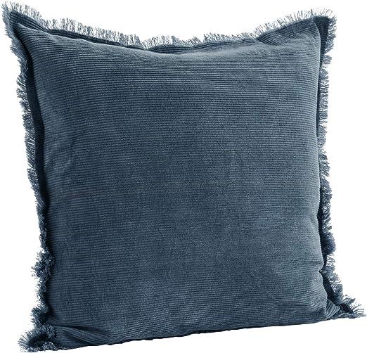Madam Stoltz - Funda de cojín (algodón, 50 x 50 cm, con Flecos), Color Azul, algodón, Orion Blau, 50 x 50 cm: Amazon.es: Hogar