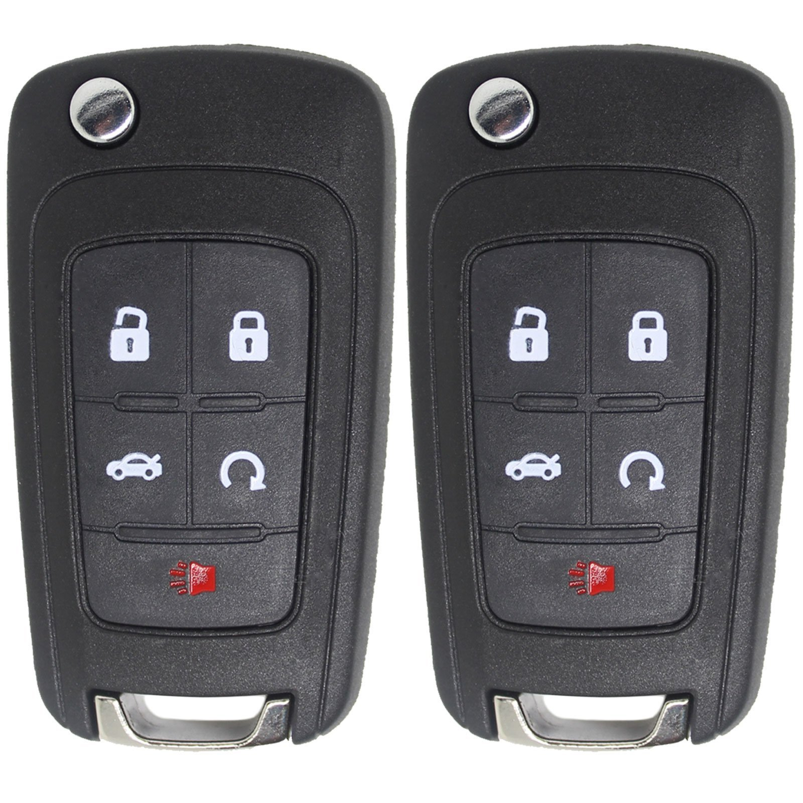 Keyless2Go New Keyless Remote 5 Button Flip Car Key Fob for Vehicles That Use FCC OHT01060512 (2 Pack) by Keyless2Go