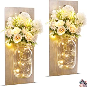 Upgraded Mason Jar Wall Decor Sconces - Set of two with Remote Fairy Lights Roses Silk Flowers Bouquet, Rustic Farmhouse Wall Decor for Living Room, Wall Decorations Art for Bedroom Decor Aesthetic