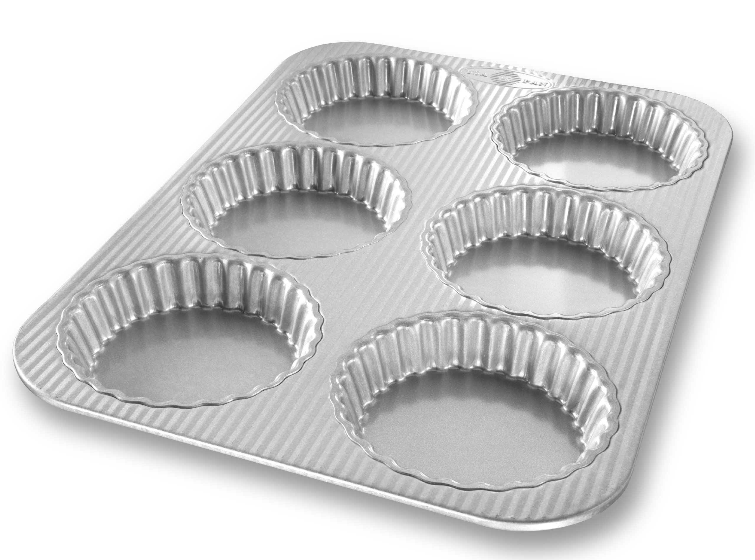 USA Pan Bakeware Aluminized Steel Mini Fluted Tart Pan, 6-Well by USA Pan