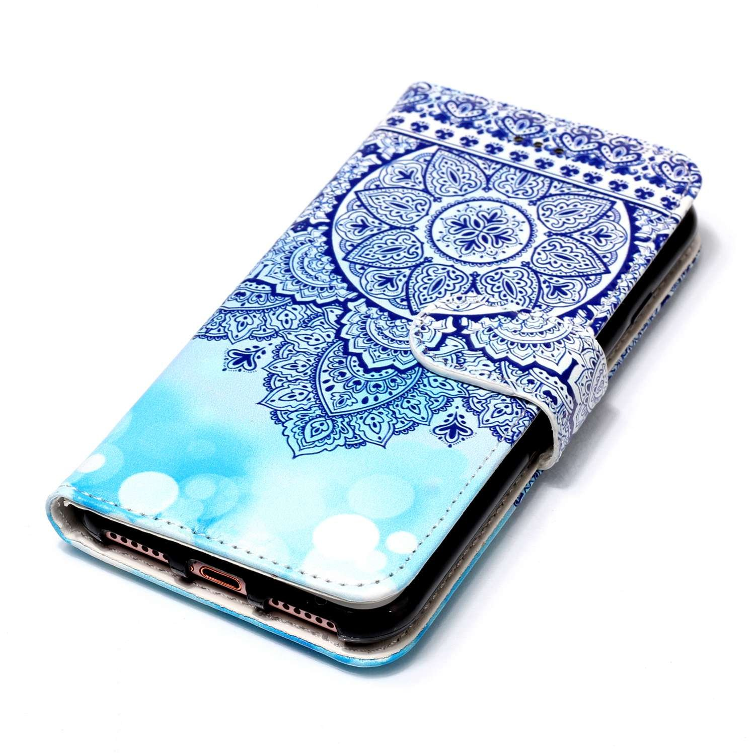 2017 Blue Totem 2016 // iPhone 8 Plus iPhone 8 Plus Case,iPhone 7 Plus Case,Suchling Totem Design Wallet Flip Magnetic Closure Embossed Case PU Leather Stand Credit Card ID Holders Book Style Skin for iPhone 7 Plus