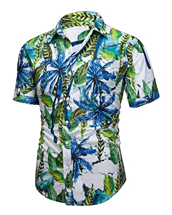 8a67d0ca Men's Aloha Hawaiian Short Sleeve Button Down Shirts Tropical Printed Tops  Green Small