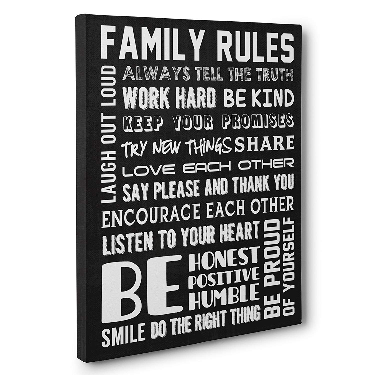 Good Family Rules Home Décor CANVAS Wall Art