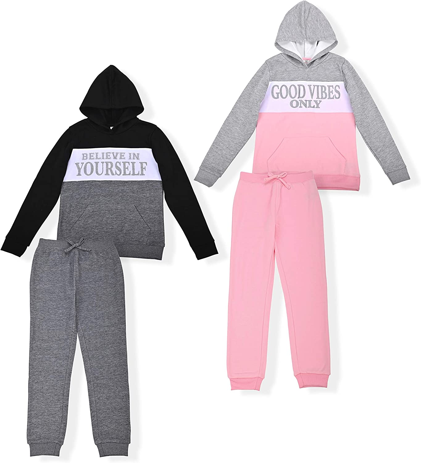 Star Ride Girls 4-Piece Fleece Active Hoodie and Athletic Jogger Sweatpants and Sweatshirt Kids Clothing Set