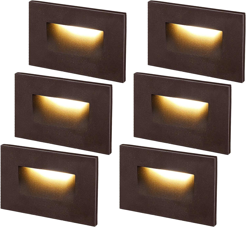 LEONLITE Dimmable 120VLEDStepLight, 3.5W150lm, Indoor/OutdoorStairLight, 3000KWarmWhiteCRI 90, ETLListed, Aluminum Waterproof, OilRubbedBronzeFinish, Packof6
