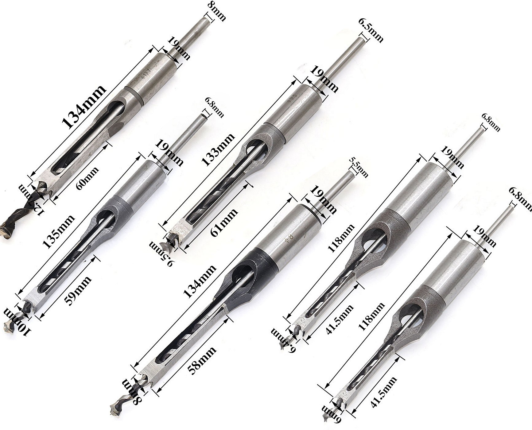 Square Hole Drill Bit, 6PCs and 7PCs Woodworking Square Hole Drill Bits Set, Stainless Steel Mortising Chisel Set with Twist Drill for Hole Opening, 6mm -30mm