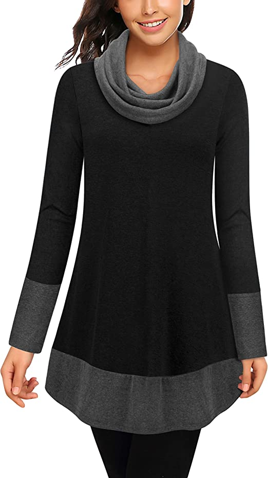 BEPEI Womens Cowl Neck Sweatshirt Long Sleeve Pullover Tunic Hoodie with Pockets