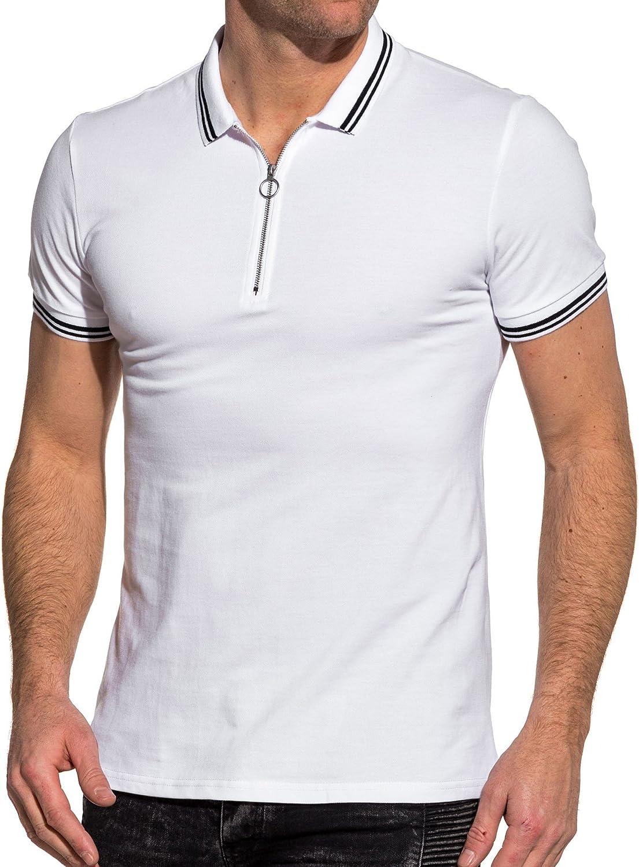 Frilivin – Polo piqué para Hombre, Color Blanco con Cremallera ...