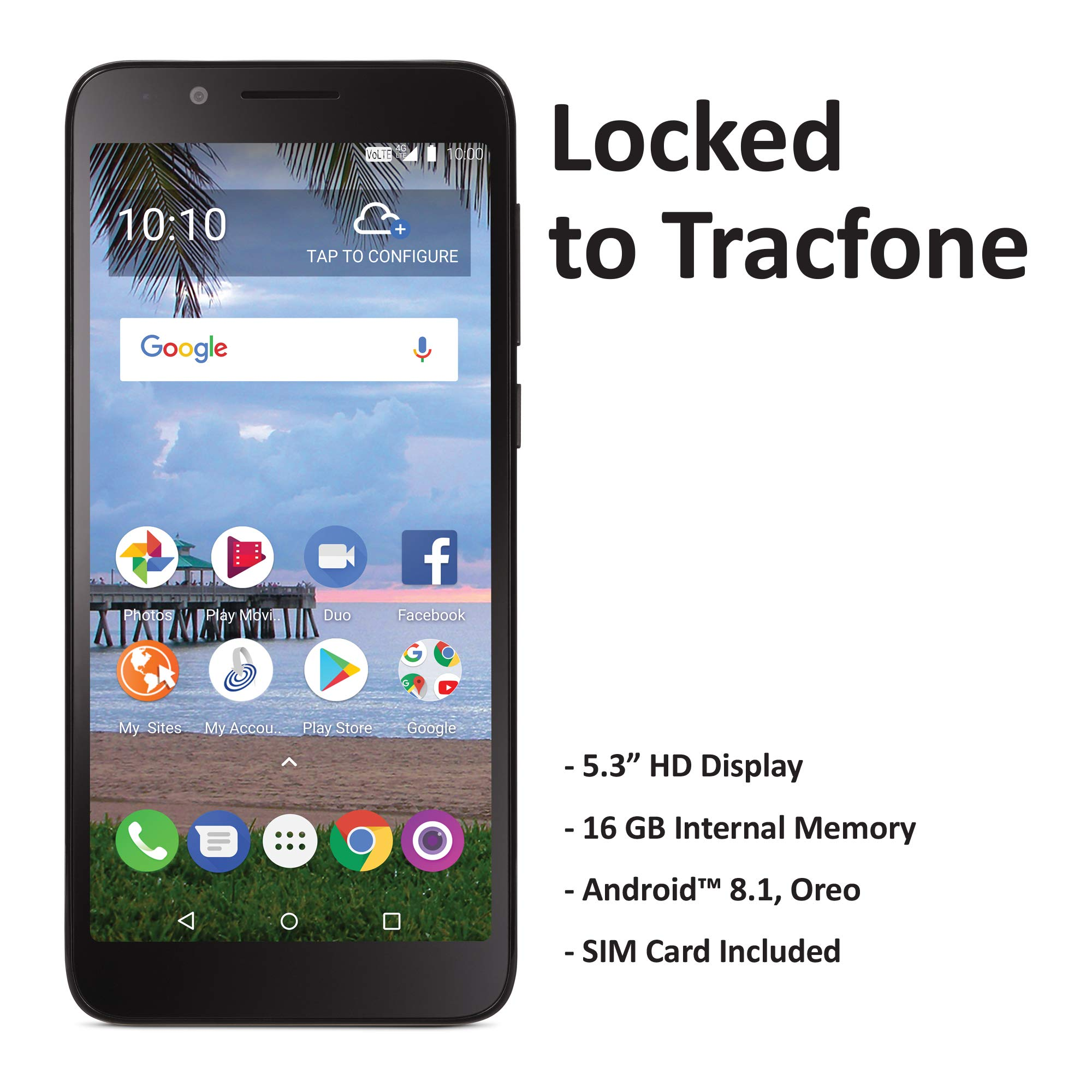 TracFone TCL LX 4G LTE Prepaid Smartphone (Locked) – Black – 16GB – Sim Card Included – CDMA