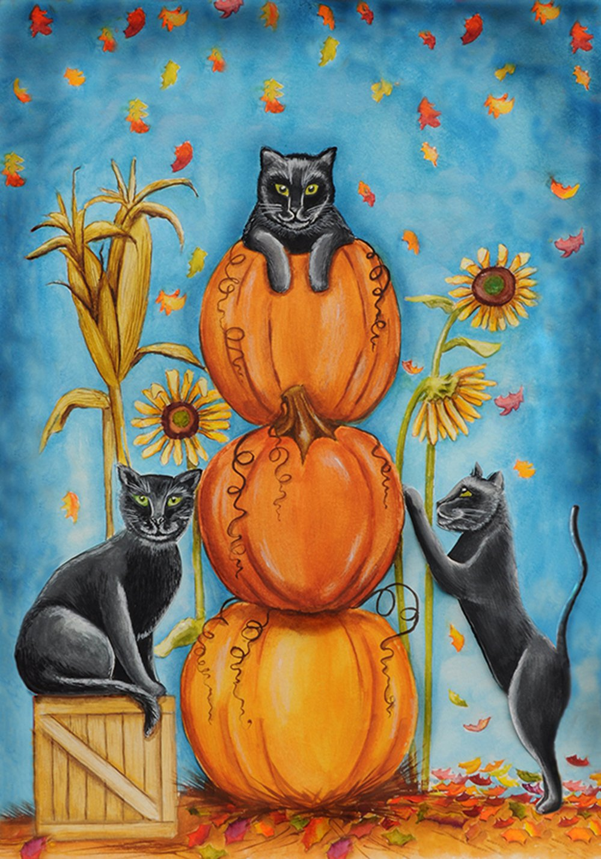 Toland Home Garden Harvest Cats 12.5 x 18 Inch Decorative Colorful Autumn Leaves Halloween Pumpkin Black Kitty Cat Garden Flag
