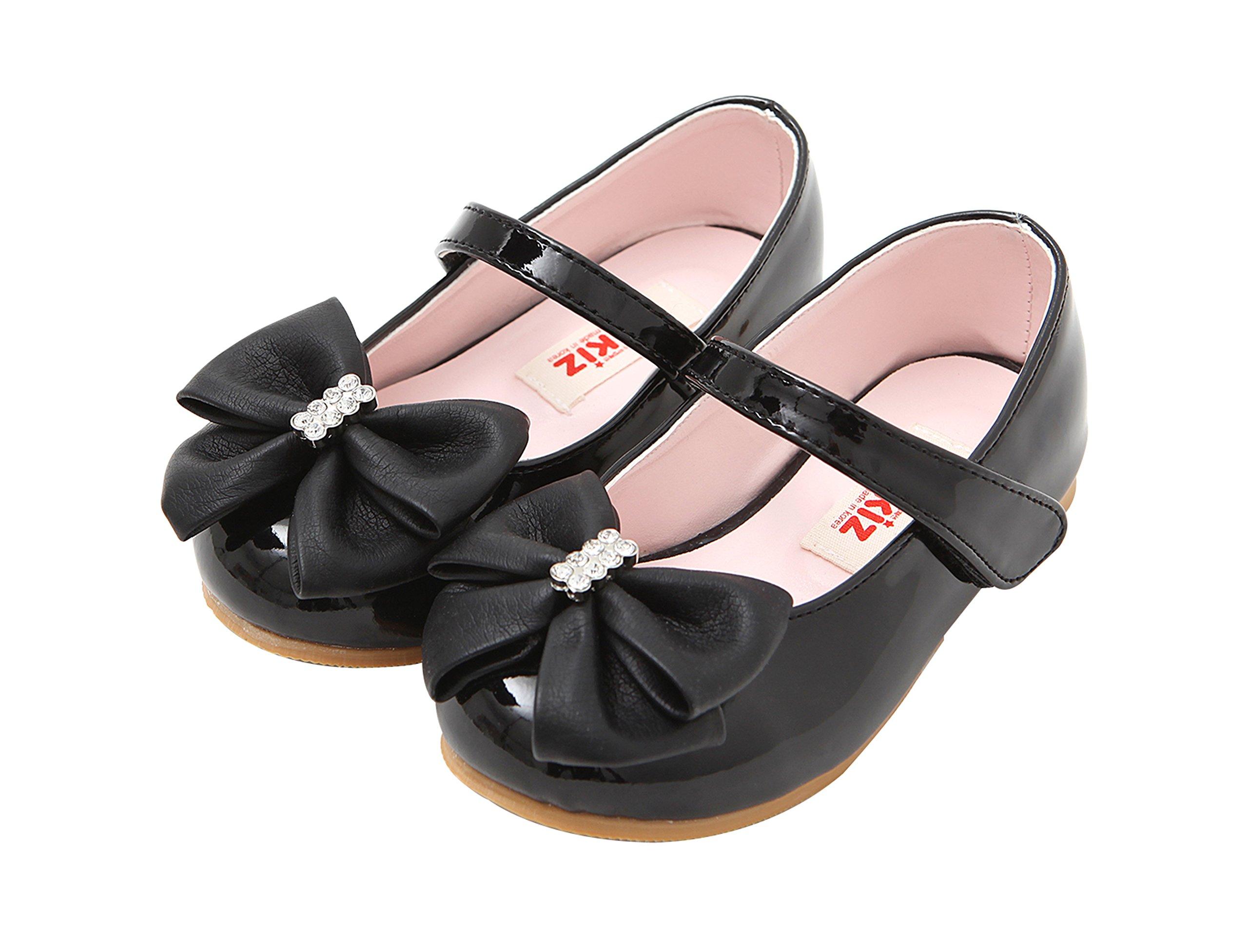 Ozkiz Girls' Dress Cubic Ribbon Polyurethane Mary Jane Flats Shoes (13 M US Little Kid, Black)
