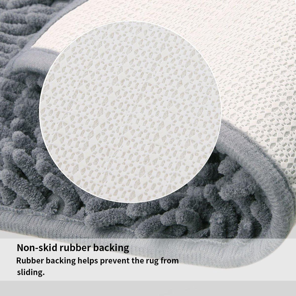 Bathroom rugs with rubber backing - Amazon Com Vdomus Microfiber Bathroom Contour Rugs Combo Set Of 2 Soft Shaggy Non Slip Bath Shower Mat And U Shaped Toilet Floor Rug Dark Gray Home