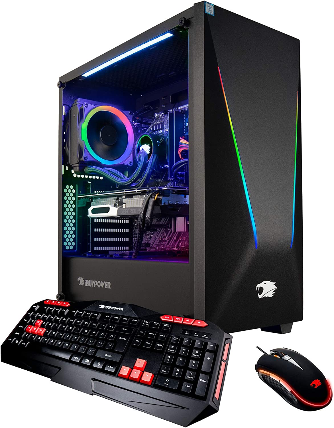iBUYPOWER Pro Gaming PC Computer Desktop Intel i7-9700k 8-Core 3.6 GHz, Geforce RTX 2070 8GB, 16GB DDR4, 1TB HDD, 240GB SSD, Z370, Liquid Cooling, WiFi Ready, Windows 10, VR Ready (Trace 9230, Black)