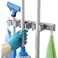 DrDirt Mop and Broom Holder Wall Mounted 3 Sliding Rubber Gripper Pole Position and 4 Hooks Storage Rack Organizer with Hanger Hooks for Kitchen Laundry Room Closet Garden Tool Utility