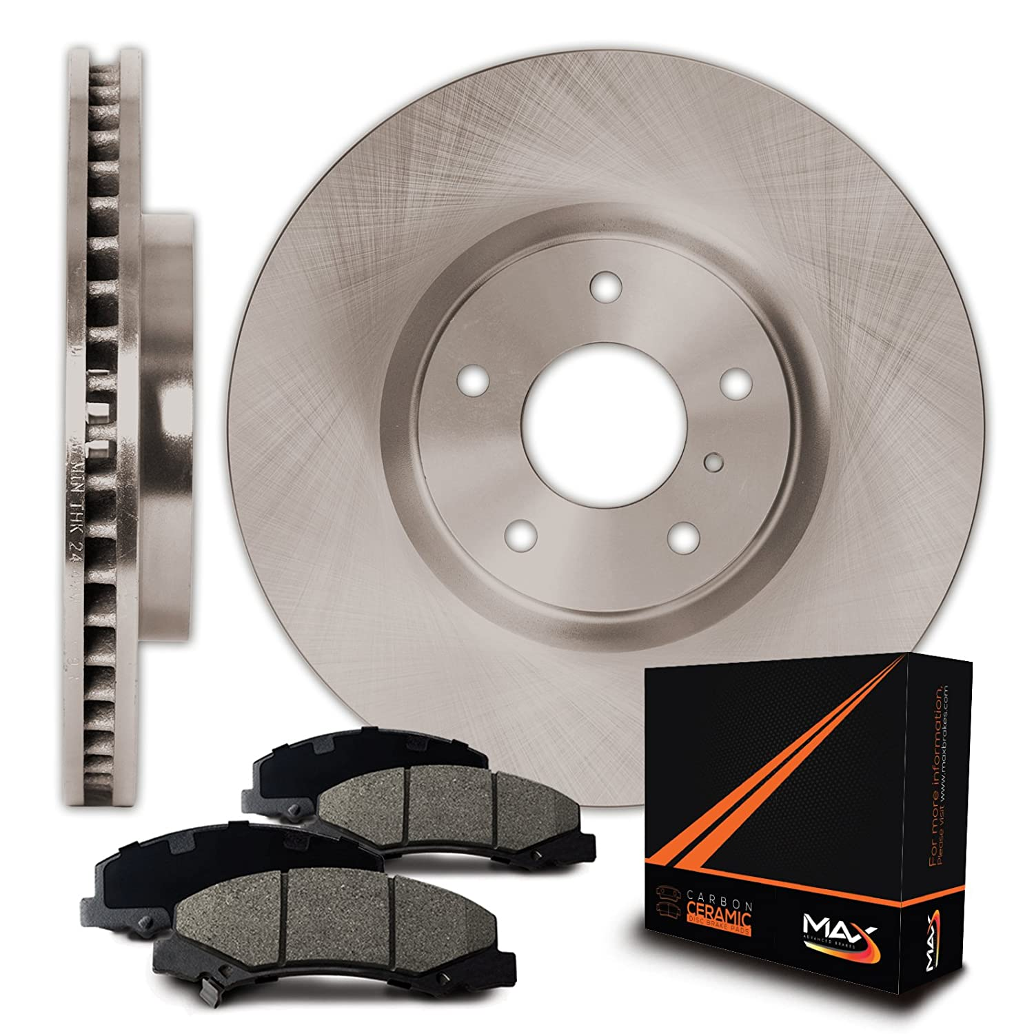 Max Brakes Rear OE Series Rotors w/Ceramic Pads Premium Brake Kit KT070942 | Fits: 2005 05 Jeep Grand Cherokee; Non SRT-8 Models Max Advanced Brakes