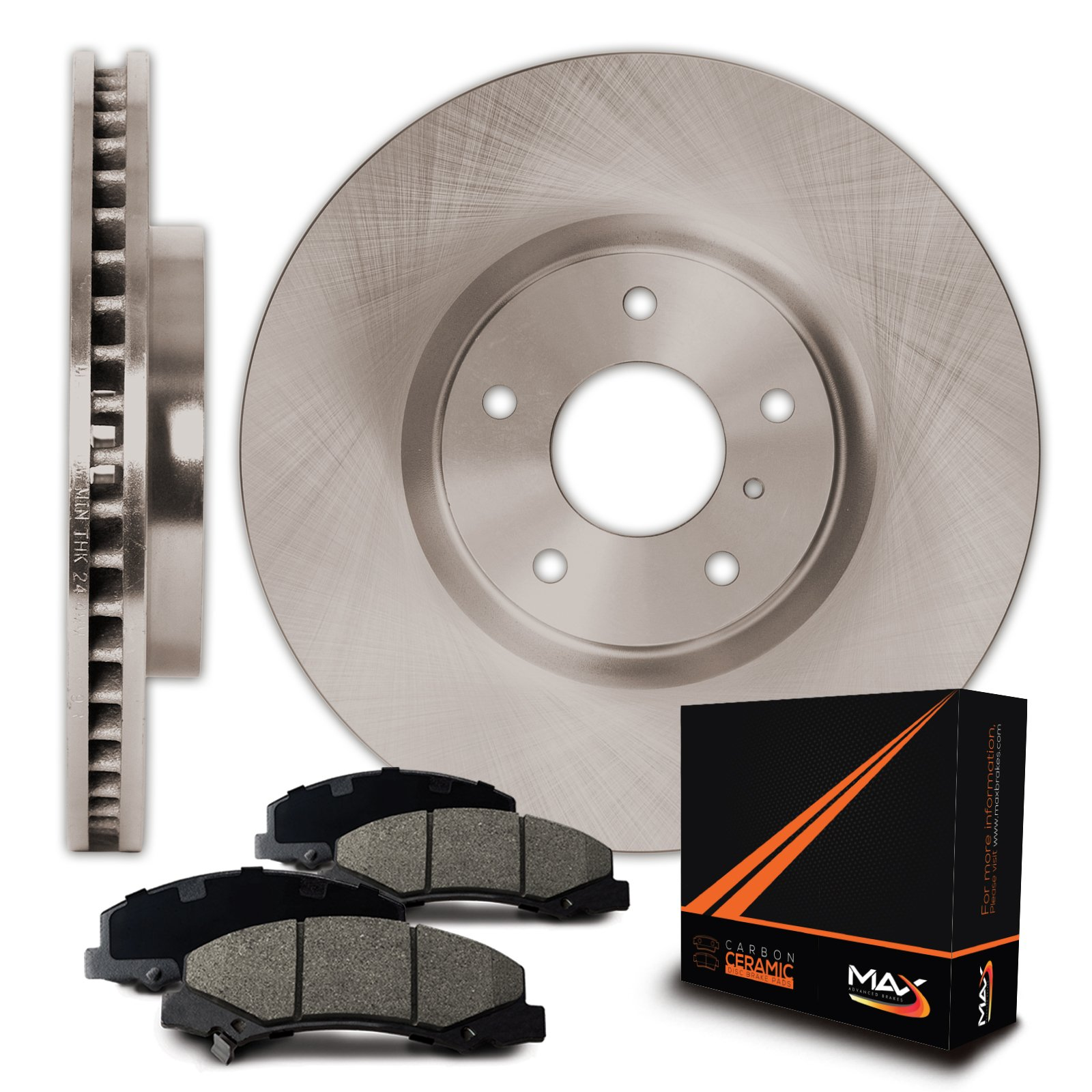 Max Brakes Front OE Series Rotors w/Ceramic Pads Premium Brake Kit KT094441 | Fits: 2003 03 2004 04 2005 05 Chevy Venture FWD Models