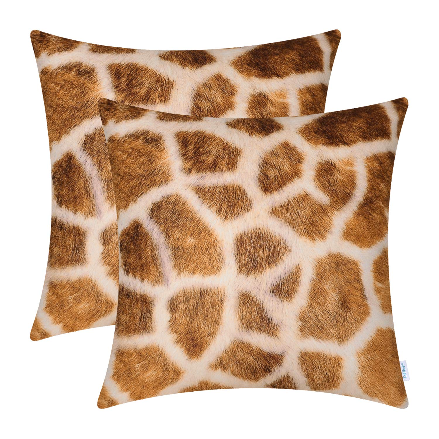 CaliTime Pack of 2 Cozy Fleece Throw Pillow Cases Covers for Couch Bed Sofa Farmhouse Animal Skin Pattern Printed Both Sides 18 X 18 Inches Giraffe